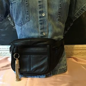 Accessories - Leather Belt Bag Fanny Pack with Gold Tassel Pull